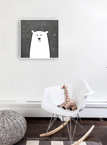 Polar bear print. Monochrome nursery print - Latte Design  - 2