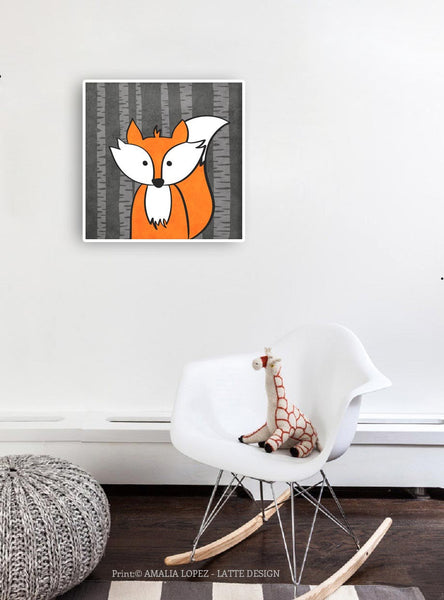 Fox print. Nursery print - Latte Design  - 2