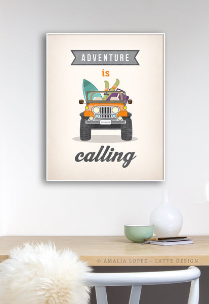 Adventure is calling. Jeep print. LD10013 - Latte Design  - 2