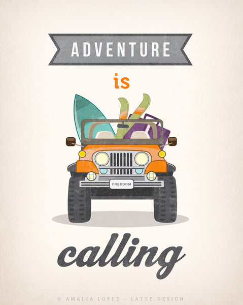 Adventure is calling. Jeep print. LD10013 - Latte Design  - 5