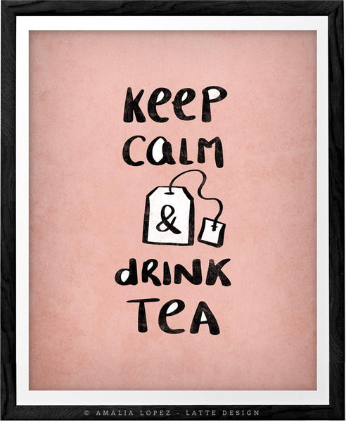 Keep calm and drink tea. Yellow kitchen print