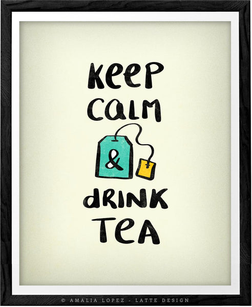 Keep calm and drink tea. Cream kitchen print
