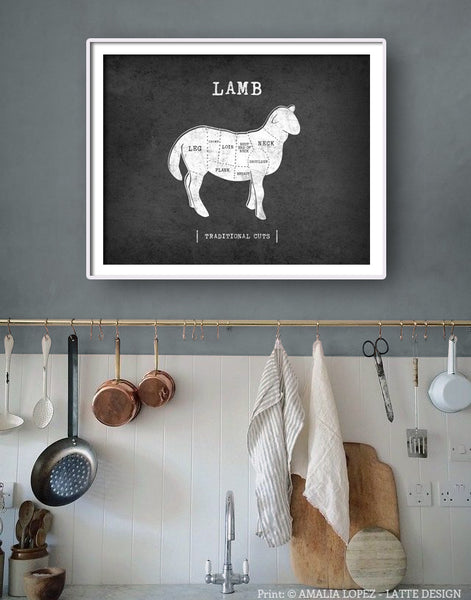 Lamb Traditional butcher print. Grey kitchen print