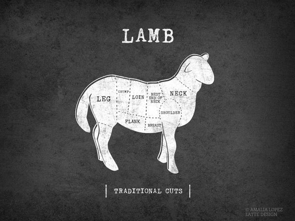 Lamb Traditional butcher print. Black & white kitchen print