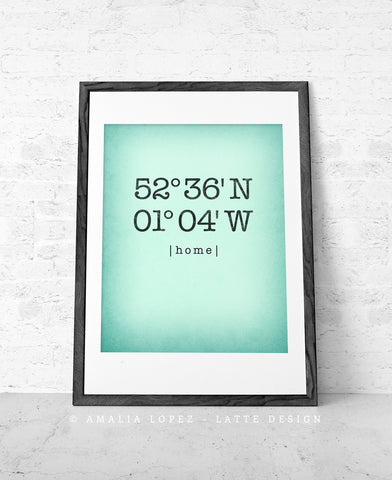 Mint Custom Coordinates print - Latte Design  - 6