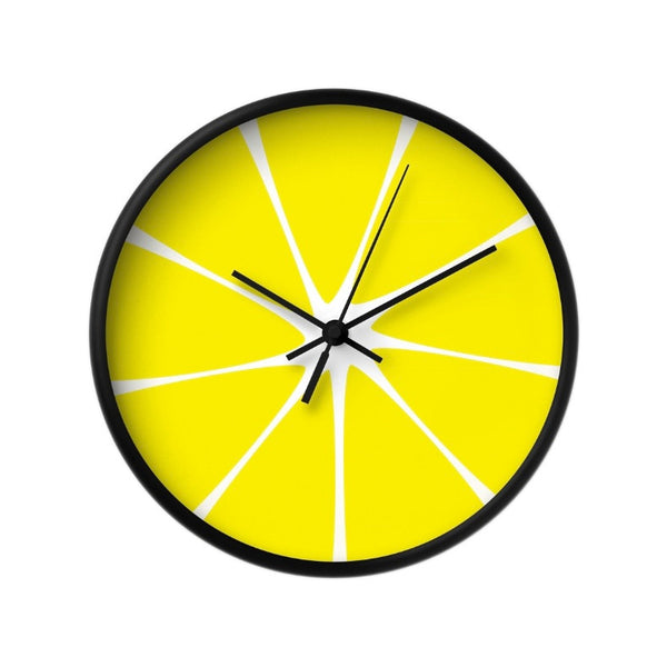 Lemon wall clock. Yellow kitchen wall clock - Latte Design  - 2