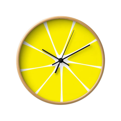 Lemon wall clock. Yellow kitchen wall clock - Latte Design  - 1