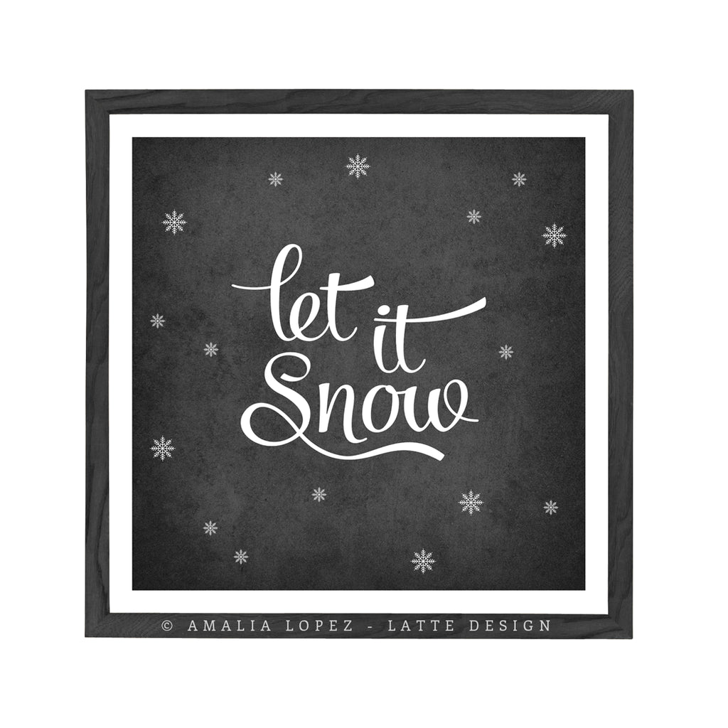 Let it snow. Winter red typography print - Latte Design  - 3