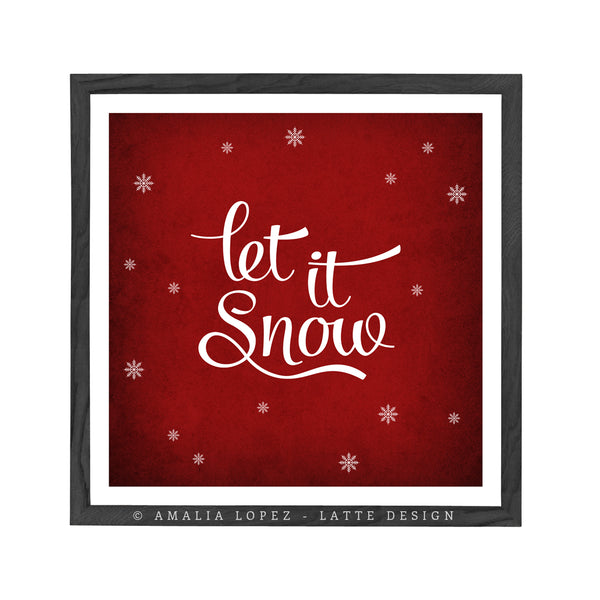 Let it snow. Winter red typography print - Latte Design  - 1