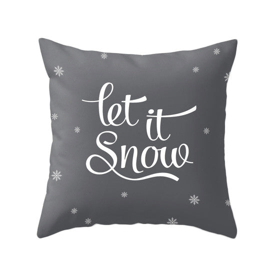 Let it snow pillow gray Christmas pillow Gray Christmas decor Grey Christmas decoration Christmas cushion gray Xmas pillow grey xmas pillow - Latte Design  - 1