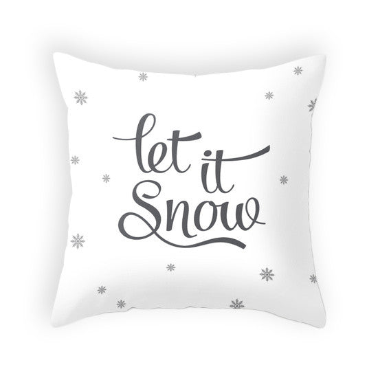 Let it snow pillow White Christmas pillow Snow flakepillow White Christmas decor Christmas decoration White Christmas cushion White Xmas pillow - Latte Design  - 1