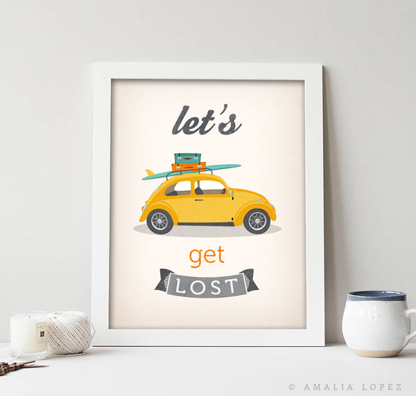 Let's get lost print. Yellow Beetle print