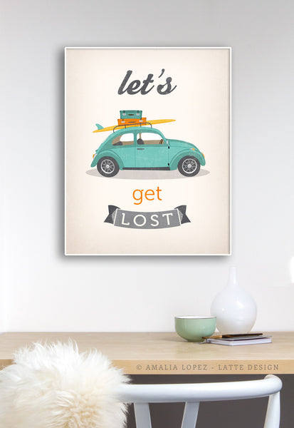 Let's get lost print. Beetle print. LD10014 - Latte Design  - 2