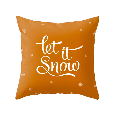 Let it snow. Burnt orange Christmas cushion