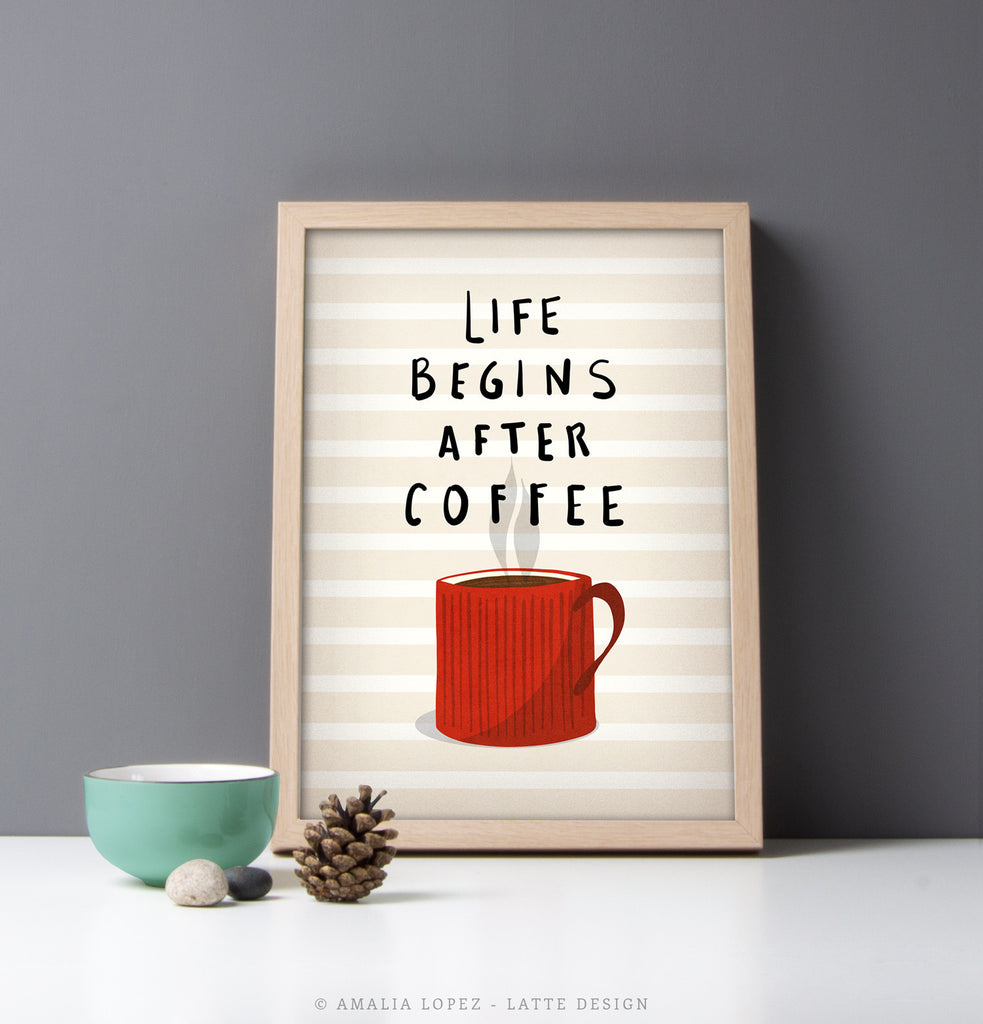 Red Kitchen Print · Life Begins After Coffee Print.