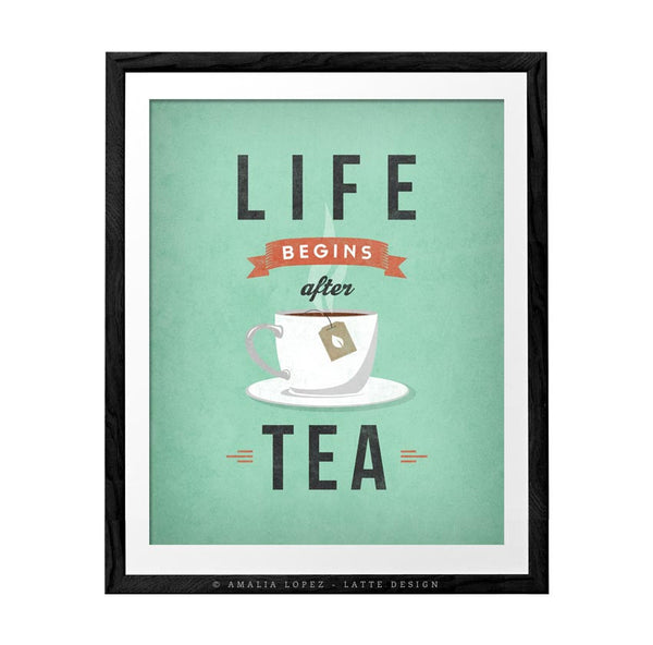 Life begins after tea print. Light teal retro kitchen print - Latte Design  - 1