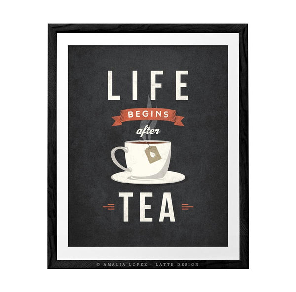 Life begins after tea print. Gray retro kitchen print - Latte Design  - 1
