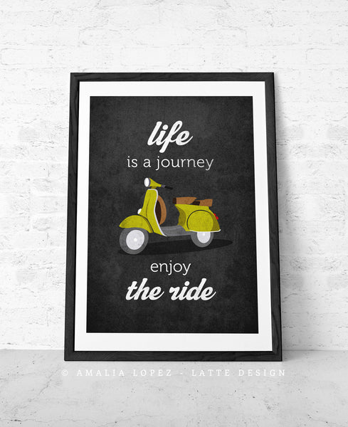 Life is journey enjoy the ride. Blue print - Latte Design  - 8