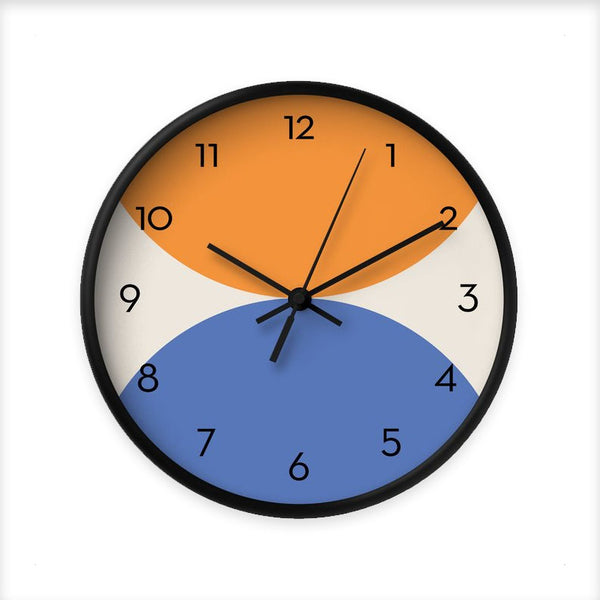 2 circles. Blue and orange geometric wall clock.