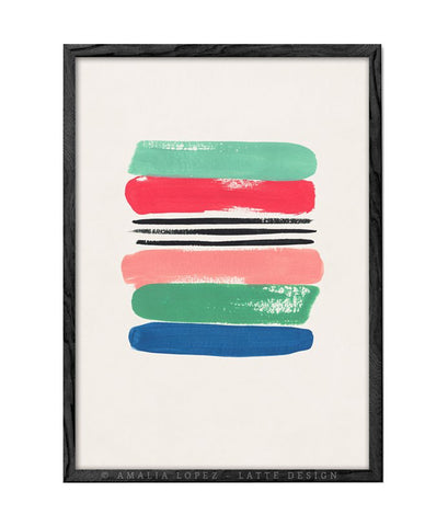 Loose Stripes 1. Red and green print
