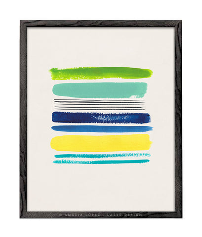 Loose Stripes 2. Blue, green and yellow print