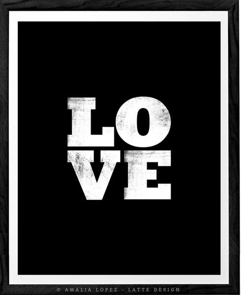 Love print. Black typographic