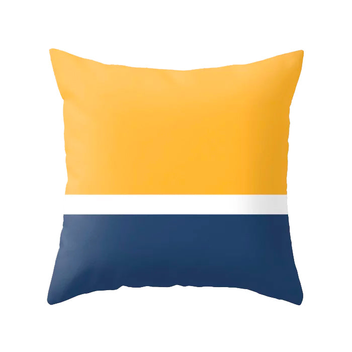 Yellow and blue nautical cushion