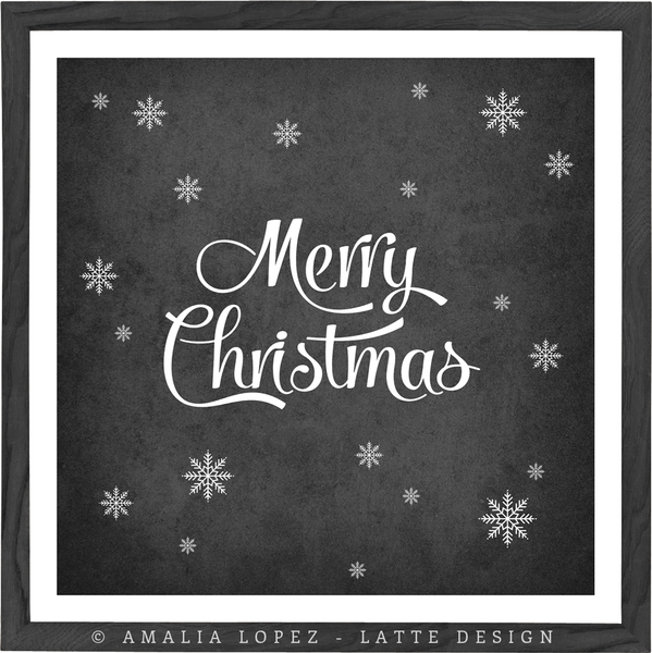 Merry Christmas. Black and white typography print