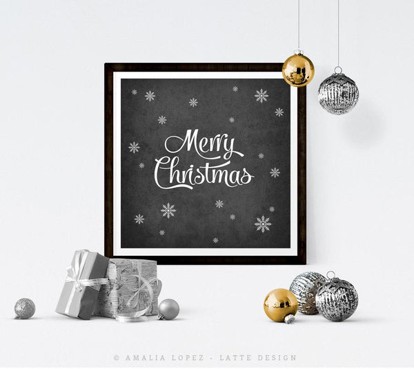 Merry Christmas. Black and white typography print - Latte Design  - 3