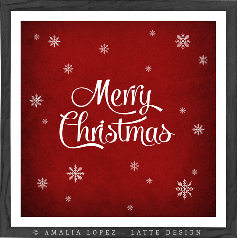 Merry Christmas. Red typography print