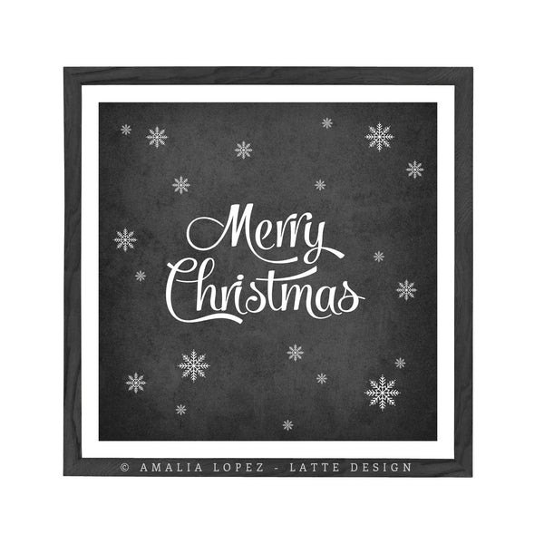 Merry Christmas. Black and white typography print - Latte Design  - 1