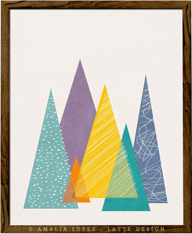 Mountains 2. Geometric print
