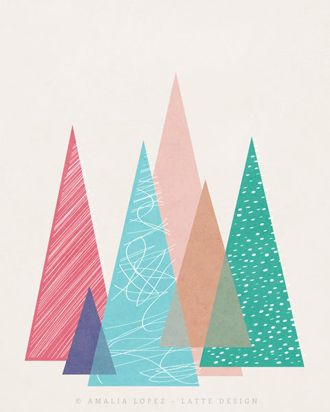 Mountains 2. Geometric print - Latte Design  - 6