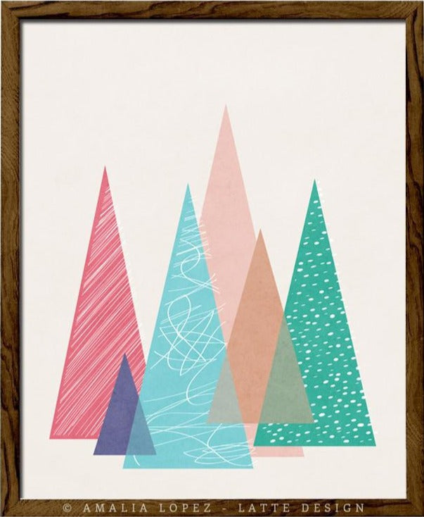 Mountains 2. Geometric print - Latte Design  - 1