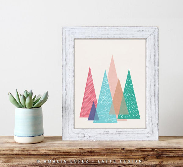Mountains 2. Geometric print - Latte Design  - 2