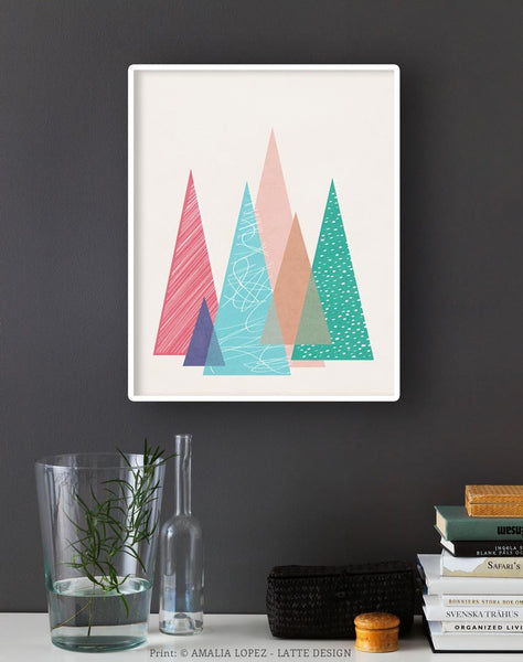 Mountains 2. Geometric print - Latte Design  - 3