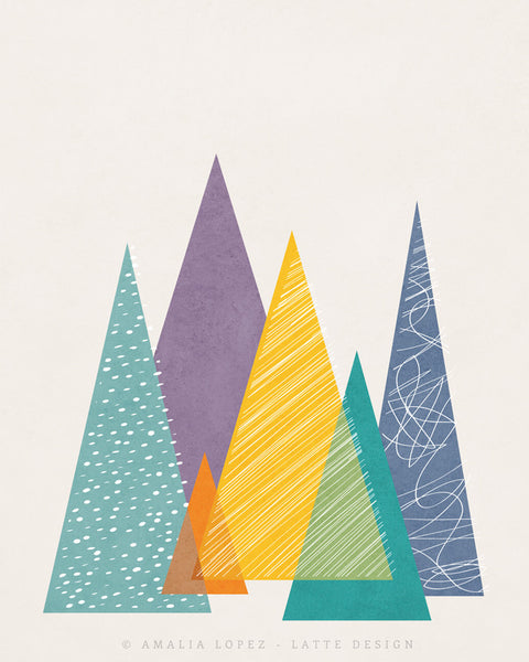 Mountains 1. Geometric print - Latte Design  - 5