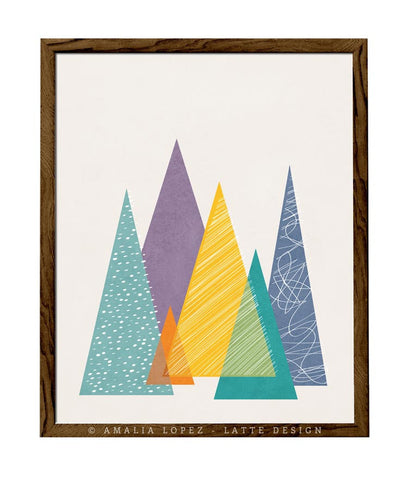 Mountains 1. Geometric print - Latte Design  - 1