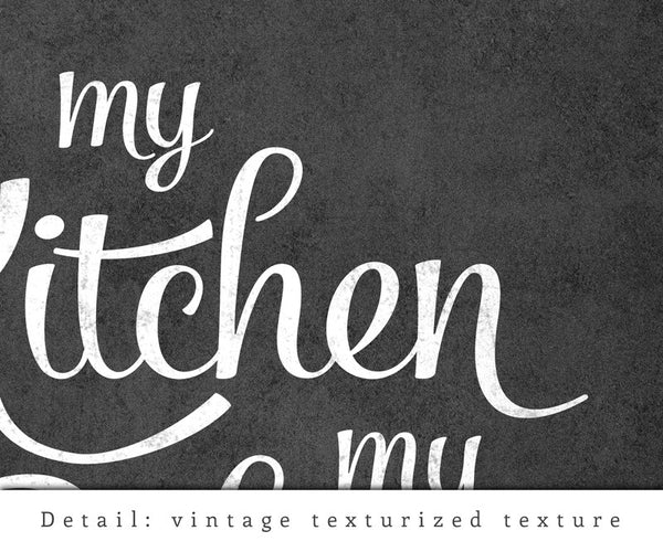 My kitchen my rules. Black and white typography print. LD10018 - Latte Design  - 7