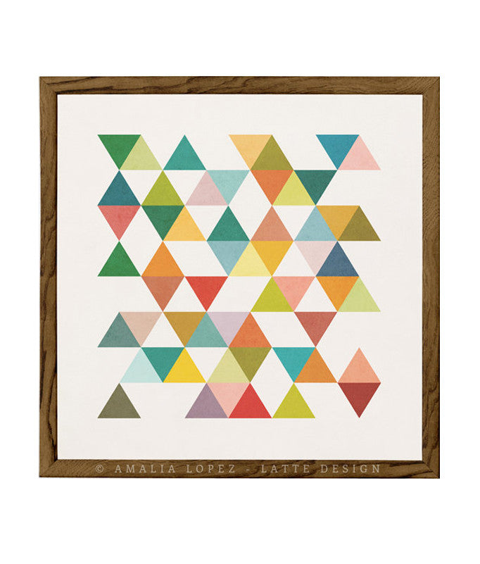 Triangles 3. Mid-century Geometric print - Latte Design  - 1