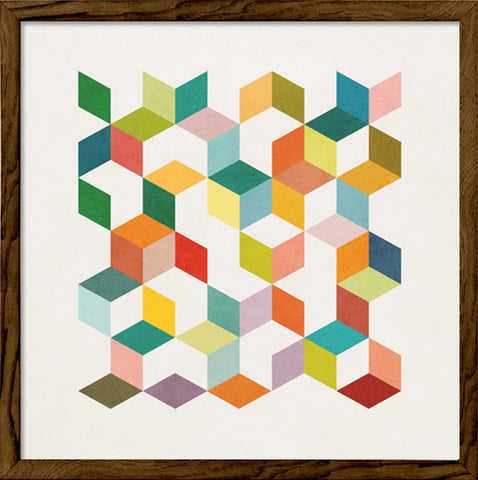 Geometric 3. Geometric print in green and red shades