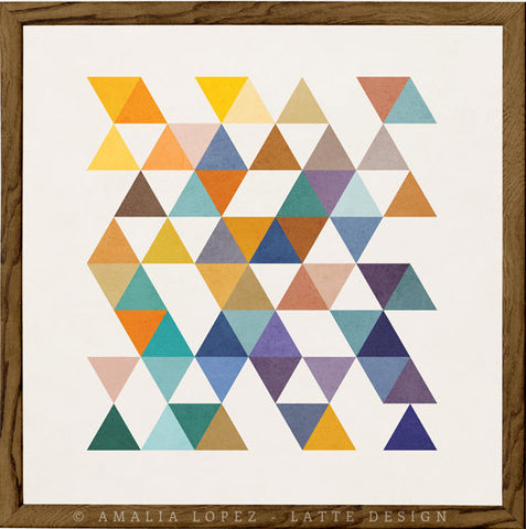 Triangles 2. Mid-century Geometric print - Latte Design