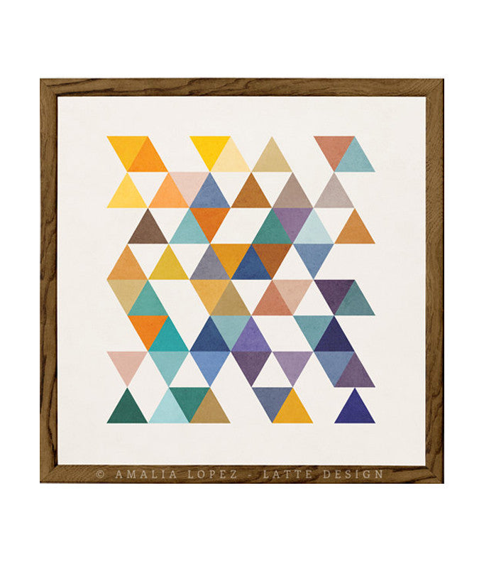 Triangles 2. Mid-century Geometric print - Latte Design  - 1