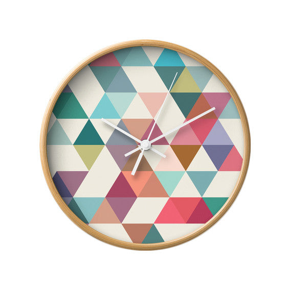 Triangles 1. Geometric wall clock - Latte Design  - 3