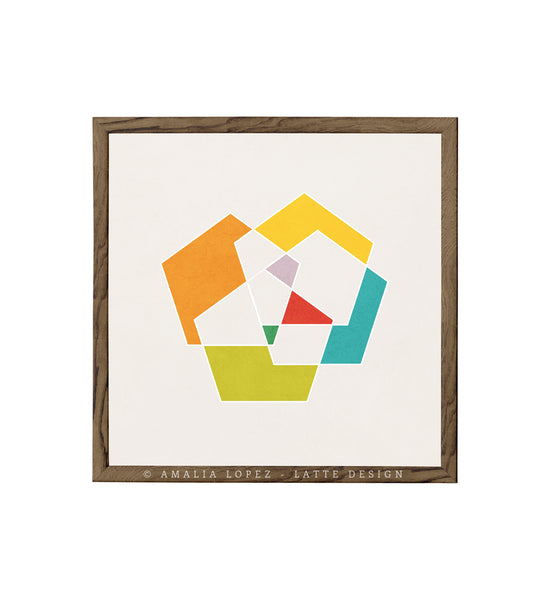 Pentagon 3. Geometric print in orange and teal shades - Latte Design  - 6
