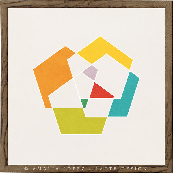 Pentagon 3. Geometric print in orange and teal shades - Latte Design  - 1