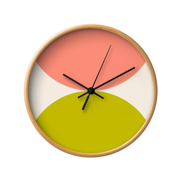 2 circles. Pink and green geometric wall clock. - Latte Design  - 2