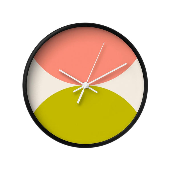 2 circles. Pink and green geometric wall clock. - Latte Design  - 3