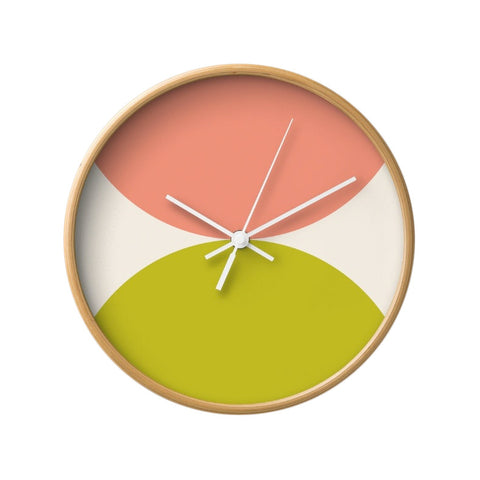 2 circles. Pink and green geometric wall clock. - Latte Design  - 1