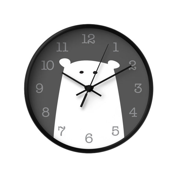 Polar bear nursery wall clock. Monochrome nursery decor - Latte Design  - 1